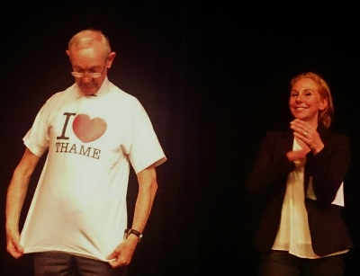 The Mayor of Montesson, Jean-Francois Bel, proudly wears his 'I love Thame' T shirt
